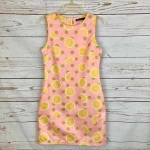 Dear Creatures Retro Pink Lemon Sheath Dress